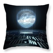 Cryptocurrency And Circuit Board Throw Pillow