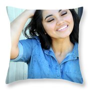 Native American Female. Throw Pillow