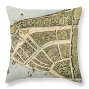 1660 New Amsterdam Map Throw Pillow