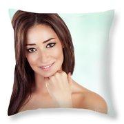 Beautiful Woman At Spa Throw Pillow