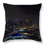 Chicago Night Skyline Aerial Photo Throw Pillow