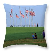 17 Flags 7 People 1 Tree Trunk Throw Pillow