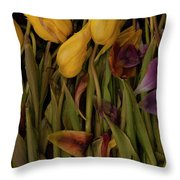 Tulips Wilting Throw Pillow