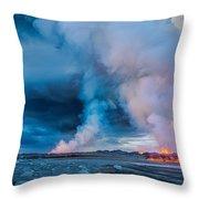 Volcano Eruption At The Holuhraun Throw Pillow