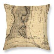 1765 Florida Coast Map Throw Pillow