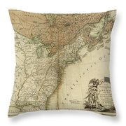 1783 United States Of America Map Throw Pillow