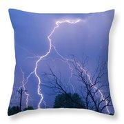 17th Street Lightning Strike Fine Art Photo Throw Pillow