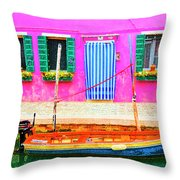 Burano Anisland Of Multi Colored Homes On Canals North Of Venice Italy Throw Pillow
