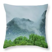 Karst Mountains Rural Scenery Throw Pillow