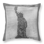 18,000 Officers And Men Form The Statue Of Liberty At Camp Dodge In Iowa. 1917 Throw Pillow