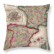 1800s France, Spain And Portugal County Map Color Throw Pillow