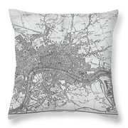 1800s London Map Black And White London England Throw Pillow