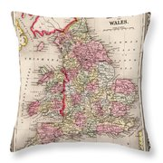 1800s Wales County Map Wales England Color Throw Pillow