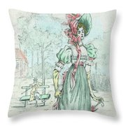 1801 Paris France Fashion Drawing Throw Pillow