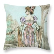 1803 Paris France Fashion Drawing Throw Pillow
