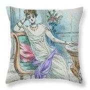 1804 Paris France Fashion Drawing Throw Pillow