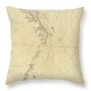 1807 North America Coastline Map Throw Pillow