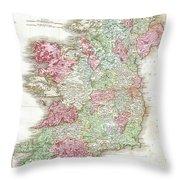 1818 Pinkerton Map Of Ireland Throw Pillow