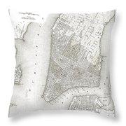 1839 New York City Map Throw Pillow