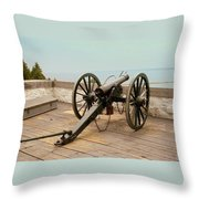 1841 Model Six Pounder Cannon At Fort Mackinac Throw Pillow