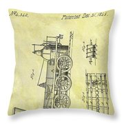 1845 Locomotive Patent Throw Pillow