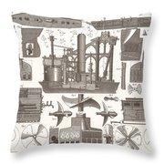 1850 Construction Of Steam Ship Throw Pillow