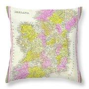 1850 Vintage Map Of Ireland Throw Pillow