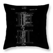 1854 Corn Sheller Patent Drawing Throw Pillow