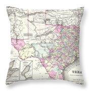 1855 Texas Map Throw Pillow