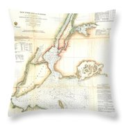 1857 Coast Survey Map Of New York City And Harbor Throw Pillow