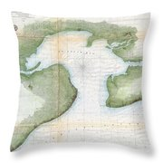 1857  Coast Survey Map Of St. Louis Bay And Shieldsboro Harbor, Mississippi  Throw Pillow