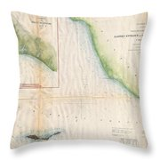 1857  Coast Survey Map Of The Eastern Entrance To Santa Barbara Channel Throw Pillow