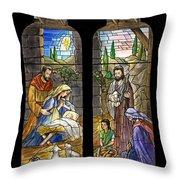 1857 Nativity Scene Throw Pillow
