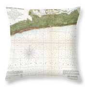 1857 U.s. Coast Survey Map Or Chart Of Mississippi City Harbor, Mississippi Throw Pillow