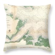 1857 U.s. Coast Survey Map Or Chart Of The Entrance To The York River, Virginia Throw Pillow