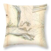 1857 U.s. Coast Survey Map Or Chart Of The Mouth Of St. Johns River, Florida Throw Pillow