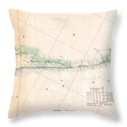 1857 U.s. Coast Survey Triangulation Map Of Matagorda Bay To Galveston Bay, Texas Throw Pillow