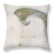 1857 U.s.c.s. Map Of Provincetown Harbor, Cape Cod, Massachusetts Throw Pillow