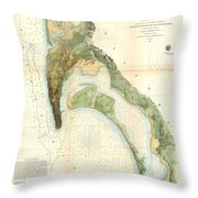 1857 U.s.c.s. Map Of San Diego Bay, California Throw Pillow