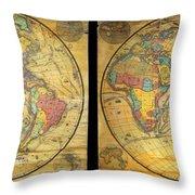 1858 Set Of Two Pelton Wall Maps, Western Hemisphere And Eastern Hemisphere  Throw Pillow