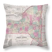 1858 Smith - Disturnell Pocket Map Of New York Throw Pillow