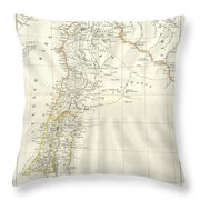 1859 Alabern Map Of Israel, Palestine, Or Holy Land And Syria In Ancient Times Throw Pillow