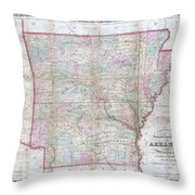 1859 Colton Pocket Map Of Arkansas  Throw Pillow