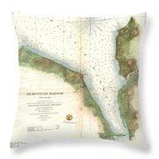 1859 U.s. Coast Survey Chart Or Map Of Hempstead Harbor, Long Island, New York  Throw Pillow