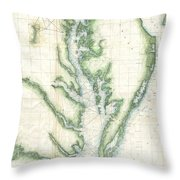 1859 U.s. Coast Survey Chart Or Map Of The Chesapeake Bay Throw Pillow