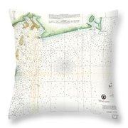 1859 U.s. Coast Survey Map Of Bull's Bay South Carolina Throw Pillow