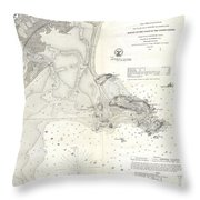 1859 U.s. Coast Survey Map Of Lynn Harbor, Massachusetts Throw Pillow