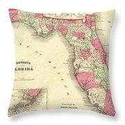 1864 Florida Map Color Throw Pillow