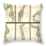 1865 Us Coast Survey Map Of The Mississippi River From Cairo Il To St Marys Mo  Throw Pillow