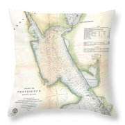 1865 Us Coast Survey Map Or Chart Of Providence Rhode Island Throw Pillow